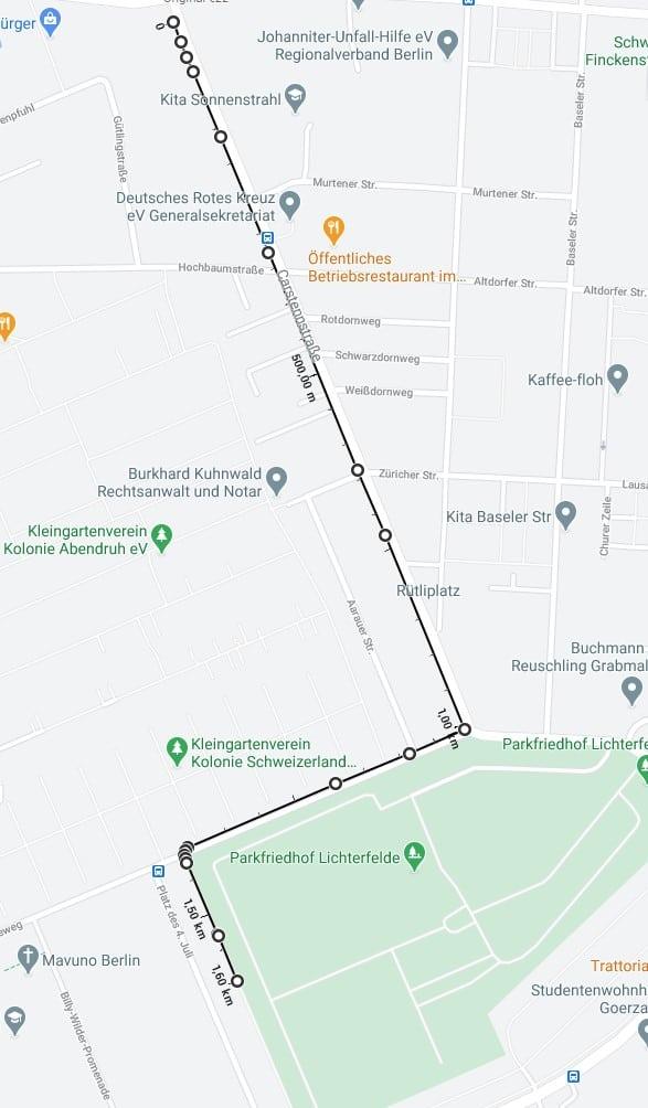 Vorher haben wir die Strecke genaustens mit Google vermessen und uns beim Laufen an diese Strecke gehalten.